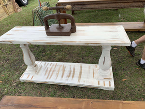 "Whitewashed 60"" Console Table w/Shelf Console"