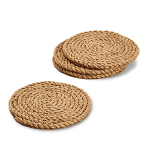 Full Circle Set of 4 Jute Rope Coasters Entertaining