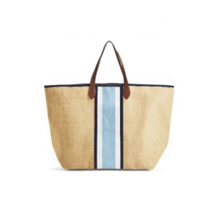 Jute Tote w/Leather Handles - 2 stripe options Accessory