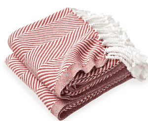 Cotton Monhegan Herringbone Throw - White/Red Throw
