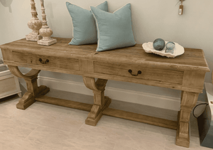 Edmond Old Elm Two-Drawer Console Table Console