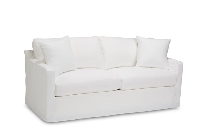 "Catalonia 78"" Slipcovered Sofa in Twill Bleach White- Quick Ship"