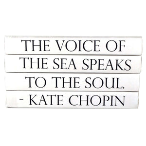 """THE VOICE OF THE SEA SPEAKS TO THE SOUL."" - Quote Book Stack Decor"
