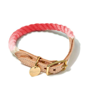 Coral Ombre Cotton Rope Dog Collar Dog