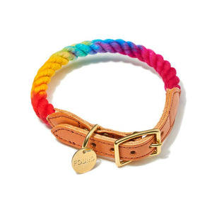 Prismatic Ombre Cotton Rope Dog Collar Dog