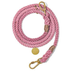 Blush Cotton Rope Dog Leash, Adjustable Dog