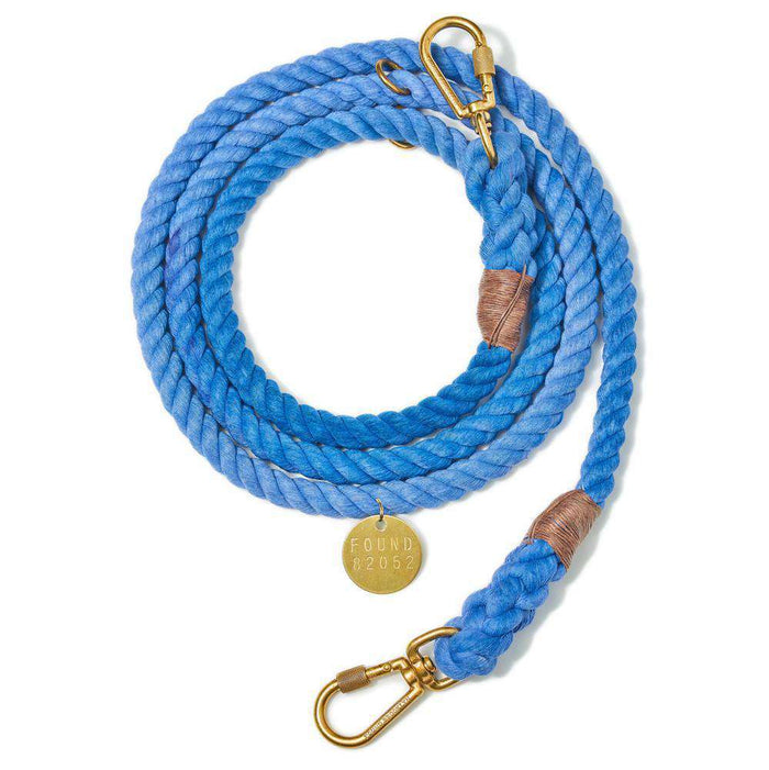 Periwinkle Cotton Rope Dog Leash, Adjustable