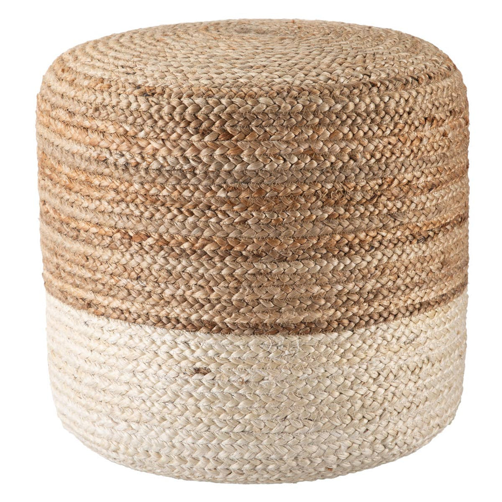 Sabal Cylinder Jute Pouf - Multiple Colors Available Pouf Sabal Ivory
