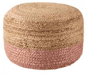 Sabal Jute Pouf - Multiple Colors Available Pouf Sabal Pink