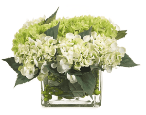 Hydrangea Row in Glass Block Vase Floral