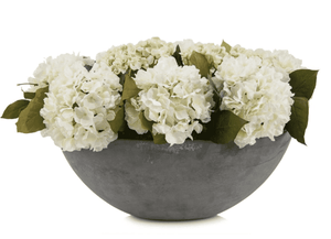 White Hydrangea Arrangement in French Cement Bowl Floral