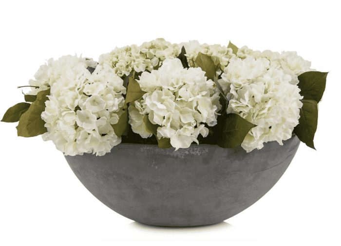 "White Hydrangea Arrangement 15""h in French Cement Bowl"