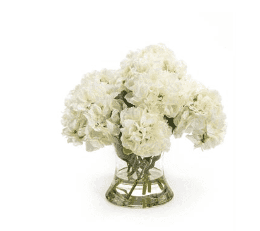 "White Hydrangea Arrangement 14""h in Vase"