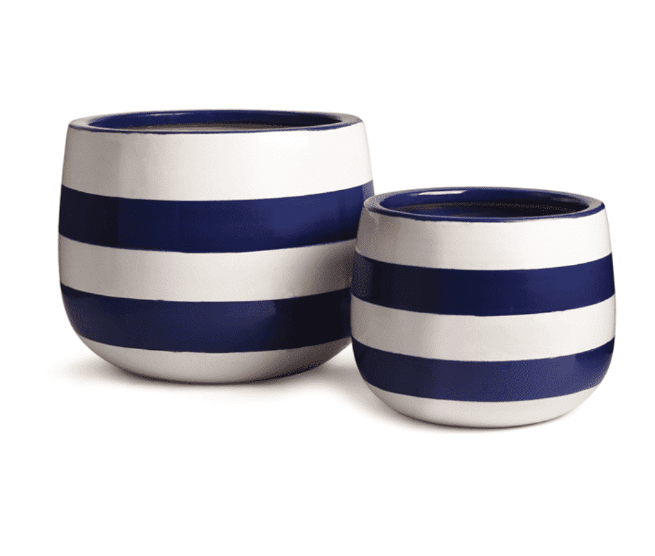 Seaside Ceramic Hand-Painted Planters - Set of Two