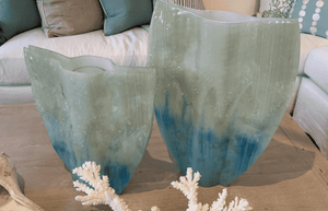 Coastal Ombre Glass Vase - Two Sizes Decor