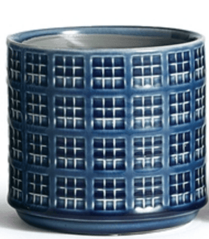 "Indigo Loretto Pots 5""h - Assorted Styles Planter Grid Pattern"