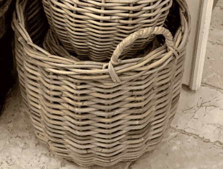 Rattan Storage Basket w/Handles -Small