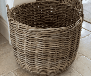 Rattan Storage Basket w/Handles - Large Basket