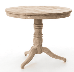 Round Accent Table in White Wash Accent Table