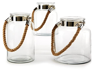 Glass Lantern with Jute Rope Handles - Assorted Sizes