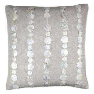 "Mother of Pearl Shell Linen Pillow (Natural) Pillow 22"" x 22"" square Natural/Tan"
