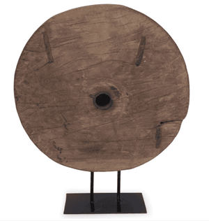 Wood Wheel on Stand Decor