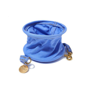 Claude Blue Cotton Canvas Collapsible Water Bowl Dog