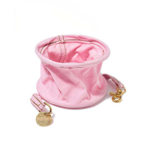 Light Pink Cotton Canvas Collapsible Water Bowl
