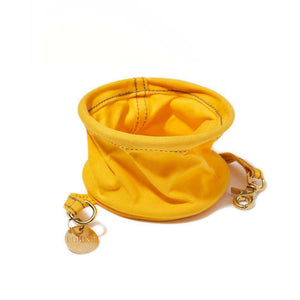 Henri Yellow Cotton Canvas Collapsible Water Bowl Dog