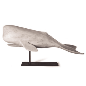 "White Whale on Stand - Large with Fluke in ""Water"" Decor"