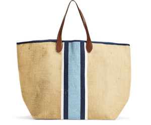 Monty Jute Tote w/Leather Handles - 2 stripe options Accessory