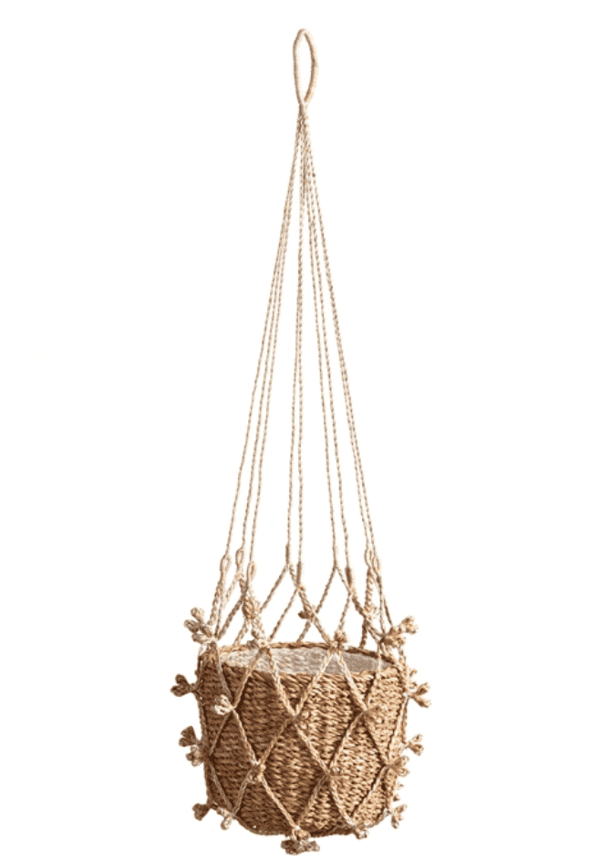Amber Seagrass Hanging Basket Planter