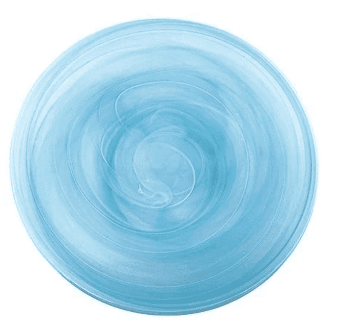 Artisanal Glass Dinner Plate in Aqua or White - Set of Four