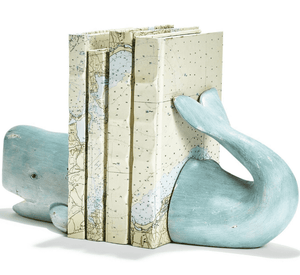 Weston Whale Tail Book Ends - Two Colors -Ivory or Aqua Accessory Aqua