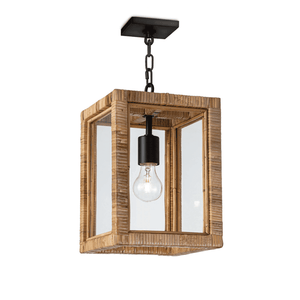 Bamboo & Glass Hanging Light Pendant Light