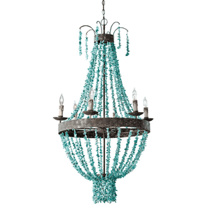 Beaded Turquoise Chandelier Chandelier