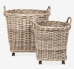 Beca Rattan Round Storage Baskets on Wheels - Set of Two Basket