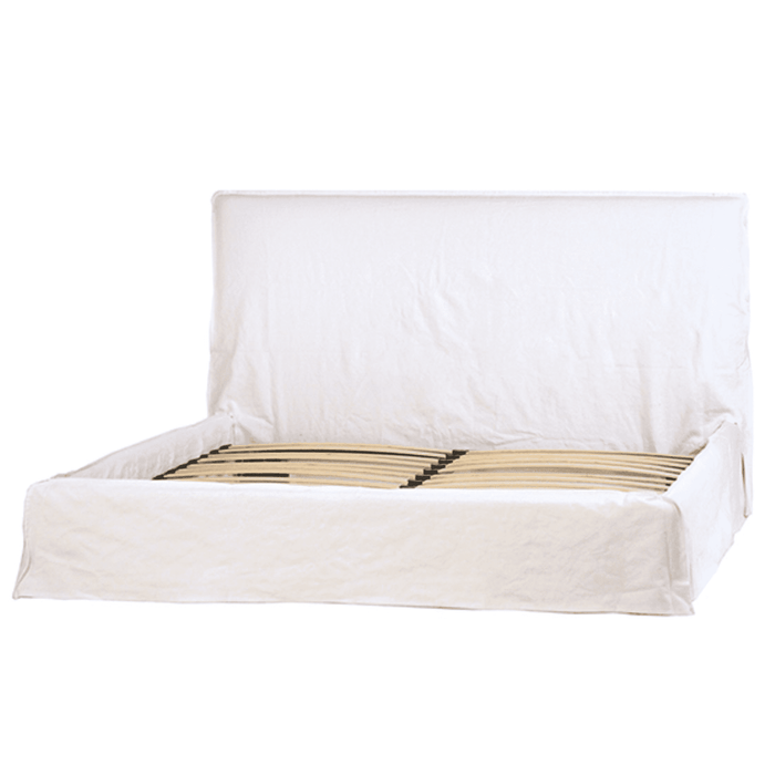 Belgian Linen White Slipcovered Bed - Two Sizes