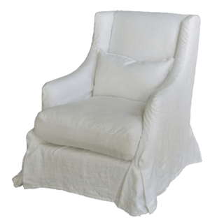 Barent's Island Belgium Linen Slipcovered Chair Accent Chair