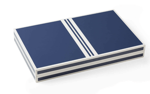 Lacquer Backgammon Set in Blue & White Game