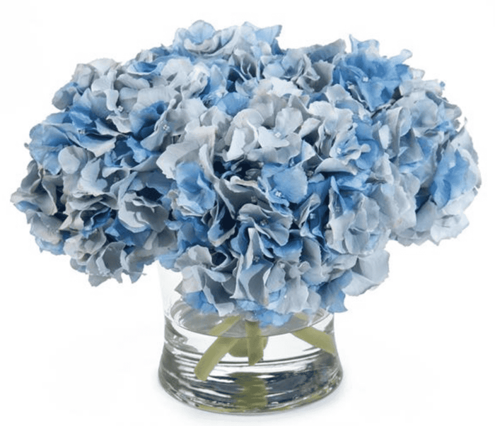 "Blue Hydrangeas 10""high in Vase"