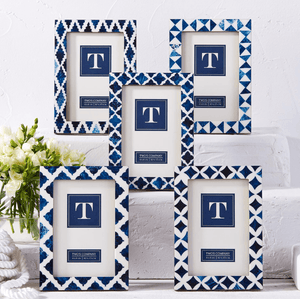 Indigo Geometric Inlay Photo Frame - Various Patterns Picture Frame