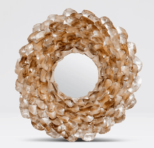 "Oyster Shell Petal 45"" Round Mirror - Three Finishes Mirror Champagne"