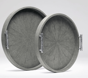 Oceania Round Shagreen Trays s/2 - Variety of Colors Decor S/2 Cool Grey