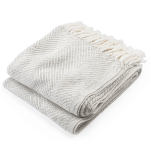 Cotton Newfield Herringbone Twist Throw - Heather Throw Soft White and Heather Gray