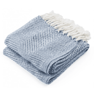 Cotton Newfield Herringbone Twist Throw - Indigo Throw