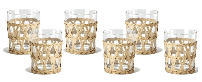 Island Lattice-Wrapped S/6 8oz Double Old Fashioned OR  S/613.5oz High Ball Glass