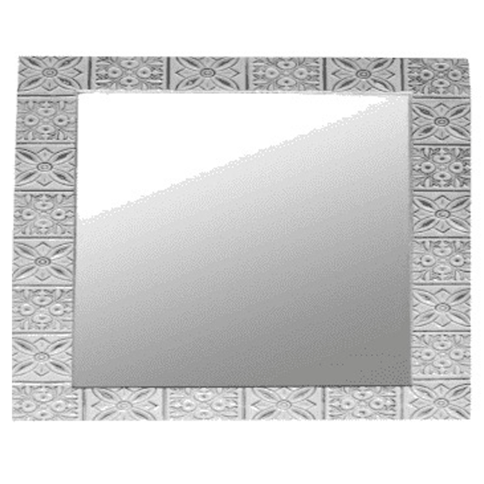 "Embossed Tin White Mirror 48"" SQ"