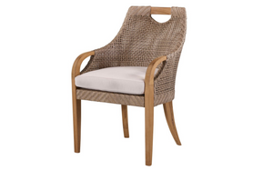 Eastern Shores Woven & Teak Outdoor Dining Arm Chair