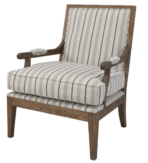 Exeter Accent Chair in Bailey Blue & Tan Stripe Accent Chair